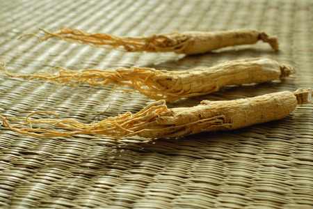 Still life of dried ginseng