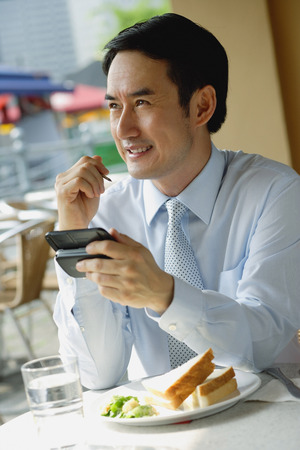 personal digital assistant: Businessman in cafe, using PDA, smiling LANG_EVOIMAGES