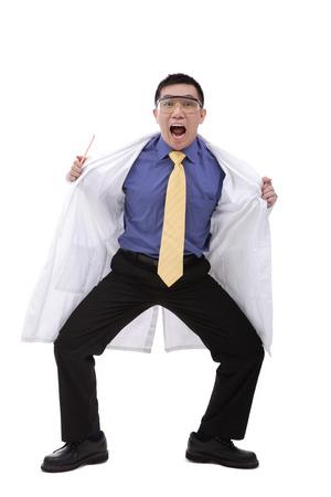 Doctor in lab coat flashing camera