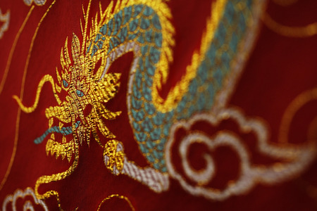 Close up of Chinese silk Imagens