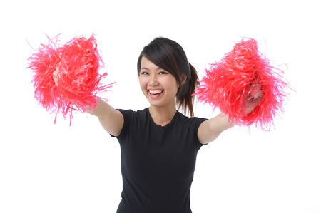 only 1 person: Young woman cheerleading with pom poms