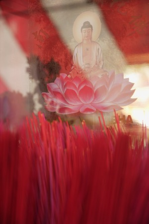 Close up of incense sticks and Buddha in lotus flower Imagens