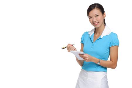 Waitress smiling at camera, taking order LANG_EVOIMAGES
