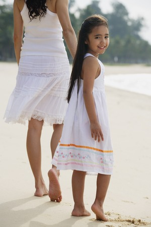 looking towards camera: Mother and daughter walking down beach, daughter looking back towards camera smiling LANG_EVOIMAGES