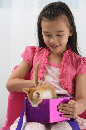 only 1 person: Young girl with kitten on her lap