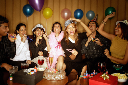 adults: Young adults celebrating birthday