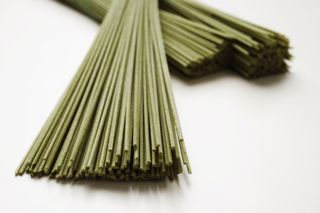 bunches of soba noodles closeup Imagens
