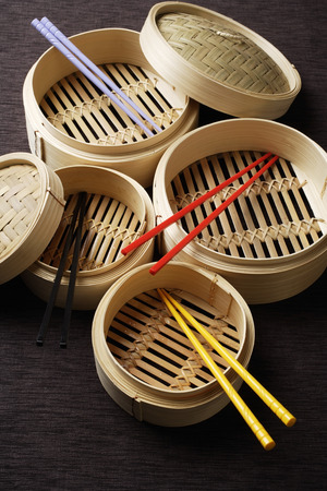 chop sticks: bamboo steamers with chop sticks