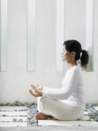 dhyana: woman meditating