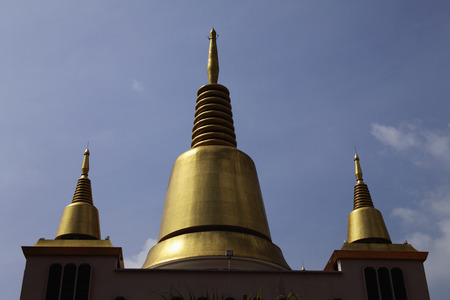 Golden spires of Buddhist Temple