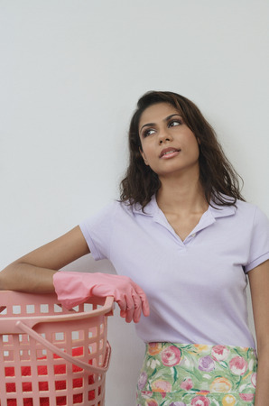 Woman with exhausted expression, looking up