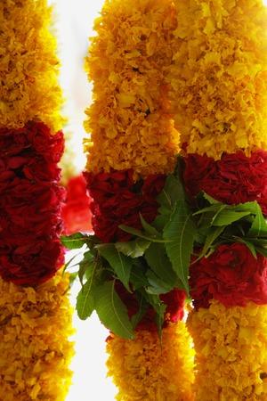 Brightly coloured flower garlands