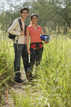 Young couple hiking in the wilderness