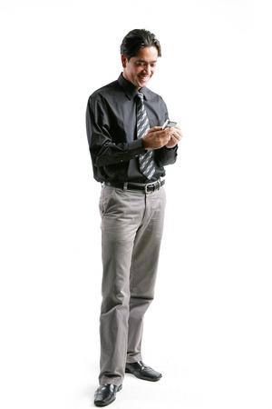 pantalones abajo: Hombre de negocios mediante PDA