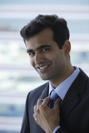 indian subcontinent ethnicity: Head shot of Indian businessman smiling. LANG_EVOIMAGES