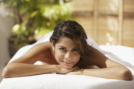 only 1 person: A woman relaxes at a spa