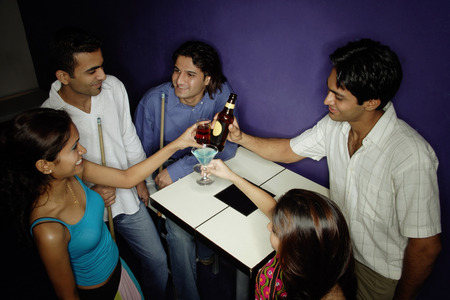 adults: Young adults toasting with drinks LANG_EVOIMAGES