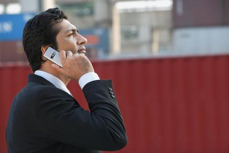 professionally: Businessman talking on mobile phone