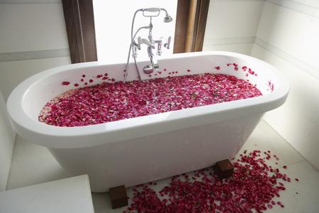 bath tub with floating petals