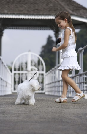 pure bred: young girl walking white dog on leash LANG_EVOIMAGES