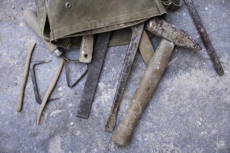 bag of tools on studio floor