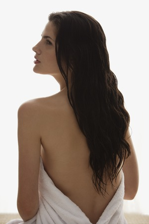 woman profile: profile of woman wrapped in towel