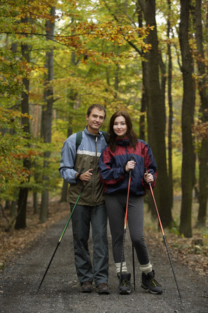 Young couple on walking trail