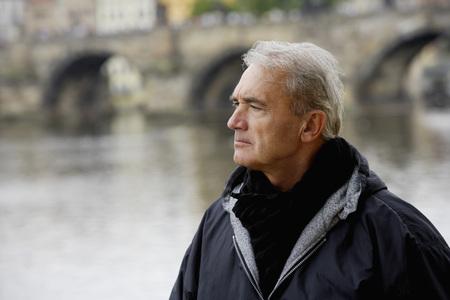 profile of mature man looking at view Banco de Imagens