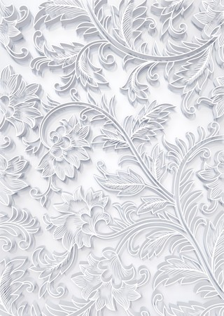 fabric texture: floral white 3D Stock Photo