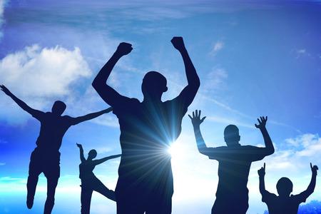 personas saludandose: silueta de negocios Foto de archivo