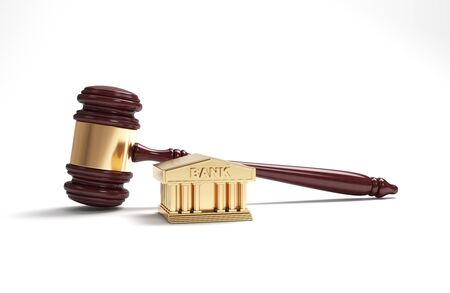 Finance law Concept Dark Wooden Gavel On White Horizontal Composition With Copy Space