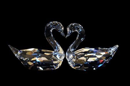 Couple Crystal Swan - Black Background photo