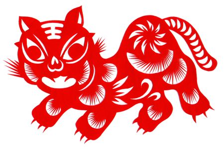 Chinese Traditional Handcraft Paper-Cut Tiger photo