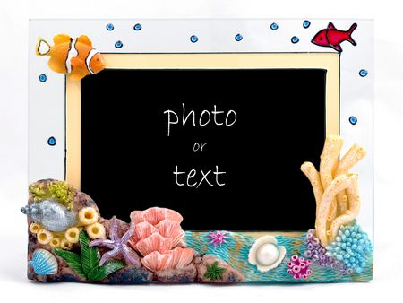 Blank Photo Frame with  Fish and Shell Decoration photo