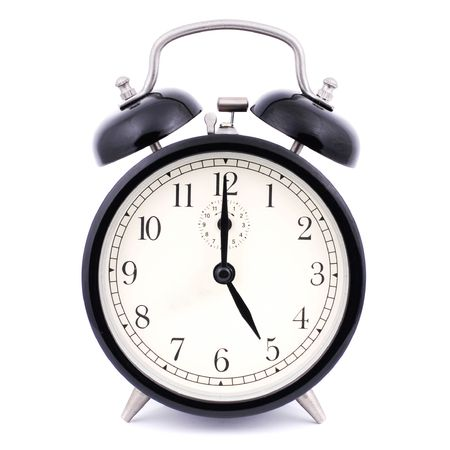 digital indicator: 5: 00 High Detail Traditional Alarm Clock Stock Photo