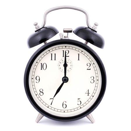despertador: 7: 00 de alto Detalle tradicional Despertador Foto de archivo