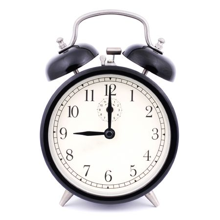 9: 00 High Detail Traditional Alarm Clock Stock Photo