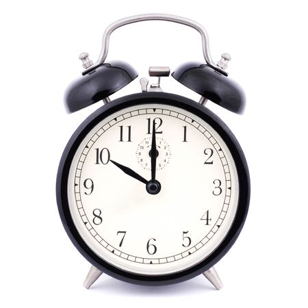 watch face: 10: 00 High Detail Traditional Alarm Clock Stock Photo
