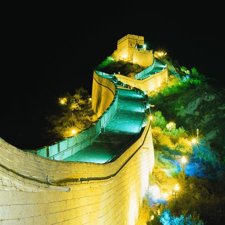 china art: Night of Great Wall Stock Photo