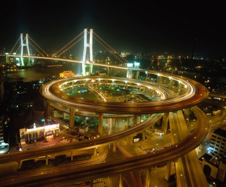 kong river: Transportation Center with Cross-Sea Bridge Stock Photo