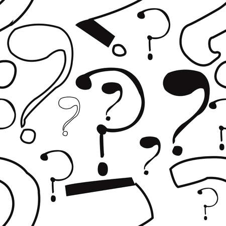 Questions marks seamless pattern. Hand drawn sketched doodle signs,