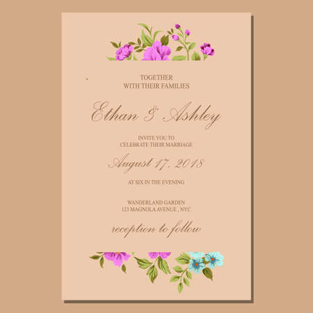 wedding invitation with floral pattern frame