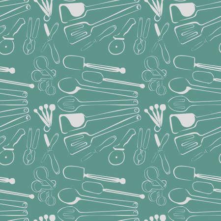 Seamless Kitchen Tools Pattern in Vector realistic  modern design Иллюстрация