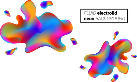 Colorful liquid splashes background. Fluid paint template. Abstract neon background.