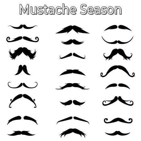 Seamless pattern of handrawn stylish hipster mustache random beige background