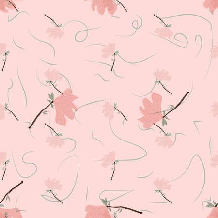 Seamless Floral Pattern. Magnolia Flowers and Leaves Exotic. Vector Design. Texture. Summer and Spring. suitable background, textur, fabric, textile, wallpaper, tile, print, backdrop, vintage, Vektorgrafik