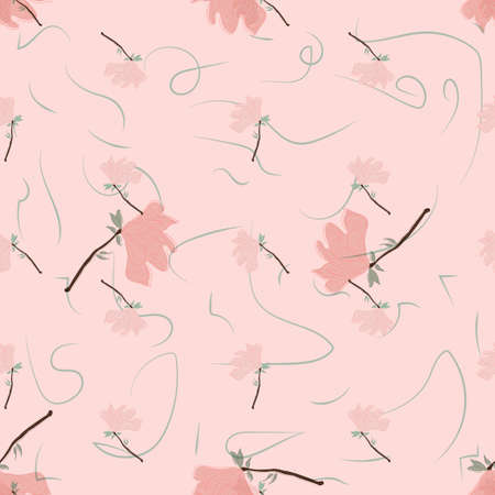 Seamless Floral Pattern. Magnolia Flowers and Leaves Exotic. Vector Design. Texture. Summer and Spring. suitable background, textur, fabric, textile, wallpaper, tile, print, backdrop, vintage, Vector Illustration