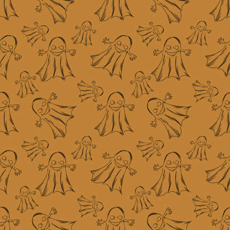 Halloween holiday seamless pattern background with hand drawing elements.
