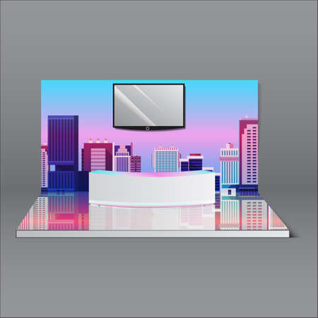 Simple Wall Booth Mockup. exhibition stand for event 3D rendering Vektorgrafik