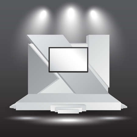 minimalist 3d stage performance presentation exhibition with blank LED backdrop screen and space for your image.